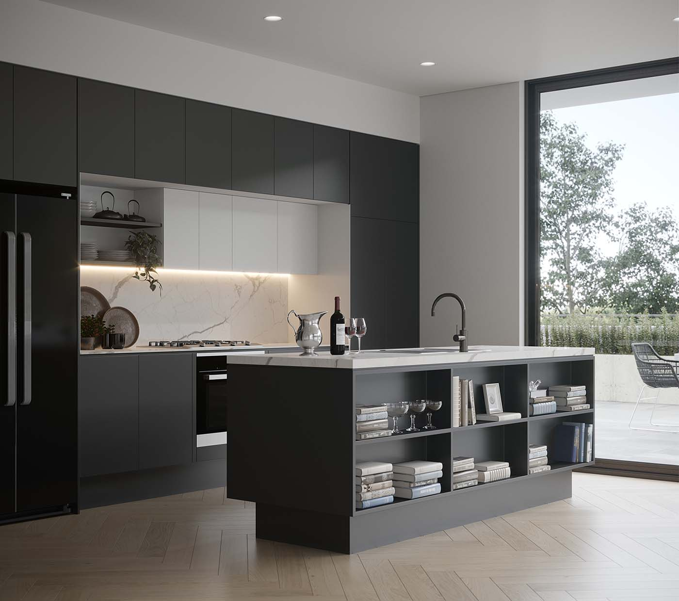Kitchen with black finishes and black benchtop that incorporates storage