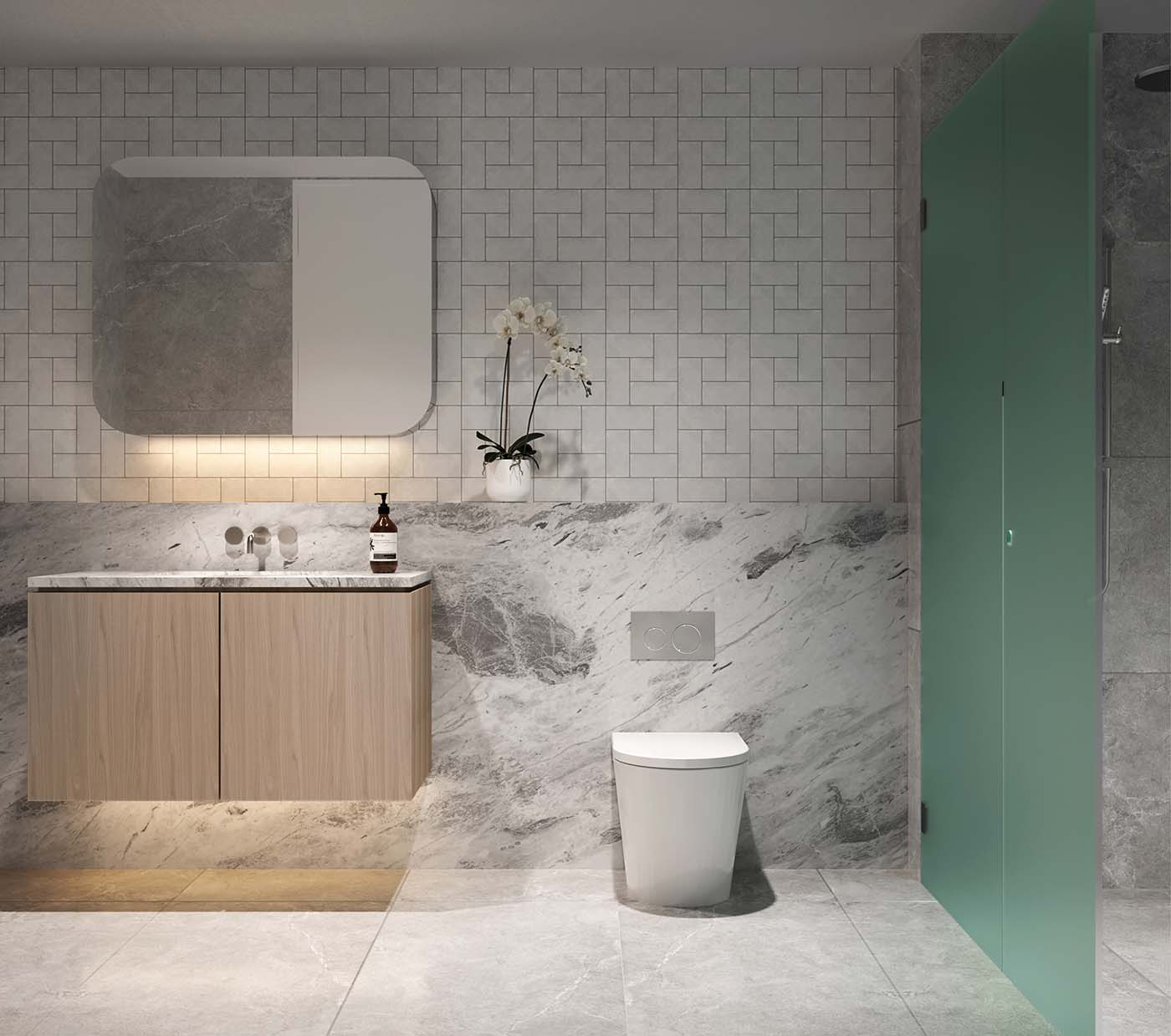 Bathroom in Cronulla Beach showing different stones, sink and toilet