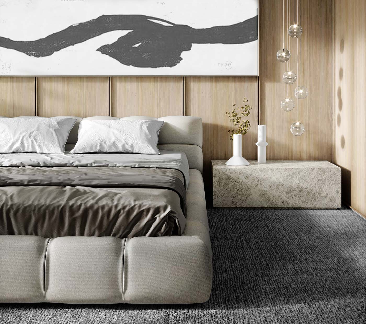 Bedroom using neutral colours with timber walls