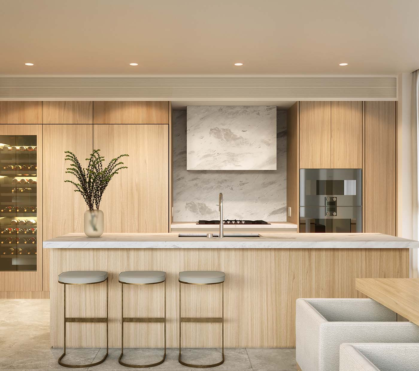 a kitchen made with timber materials and benchtop with stools