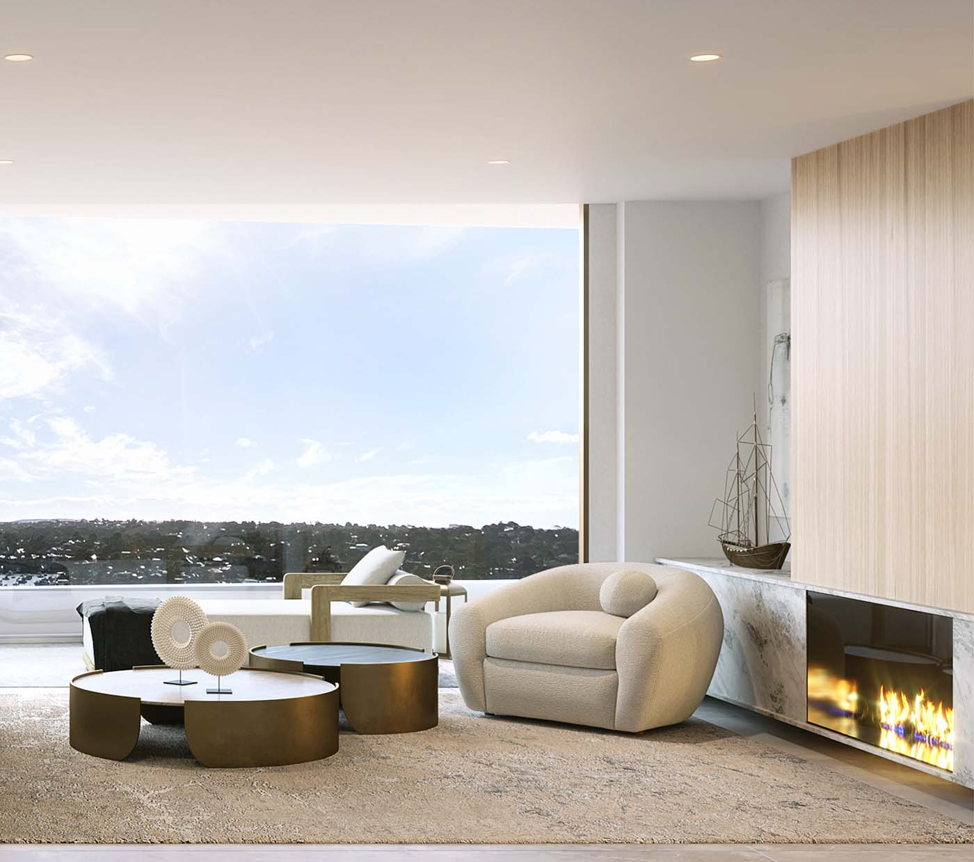 living room with glass window and view