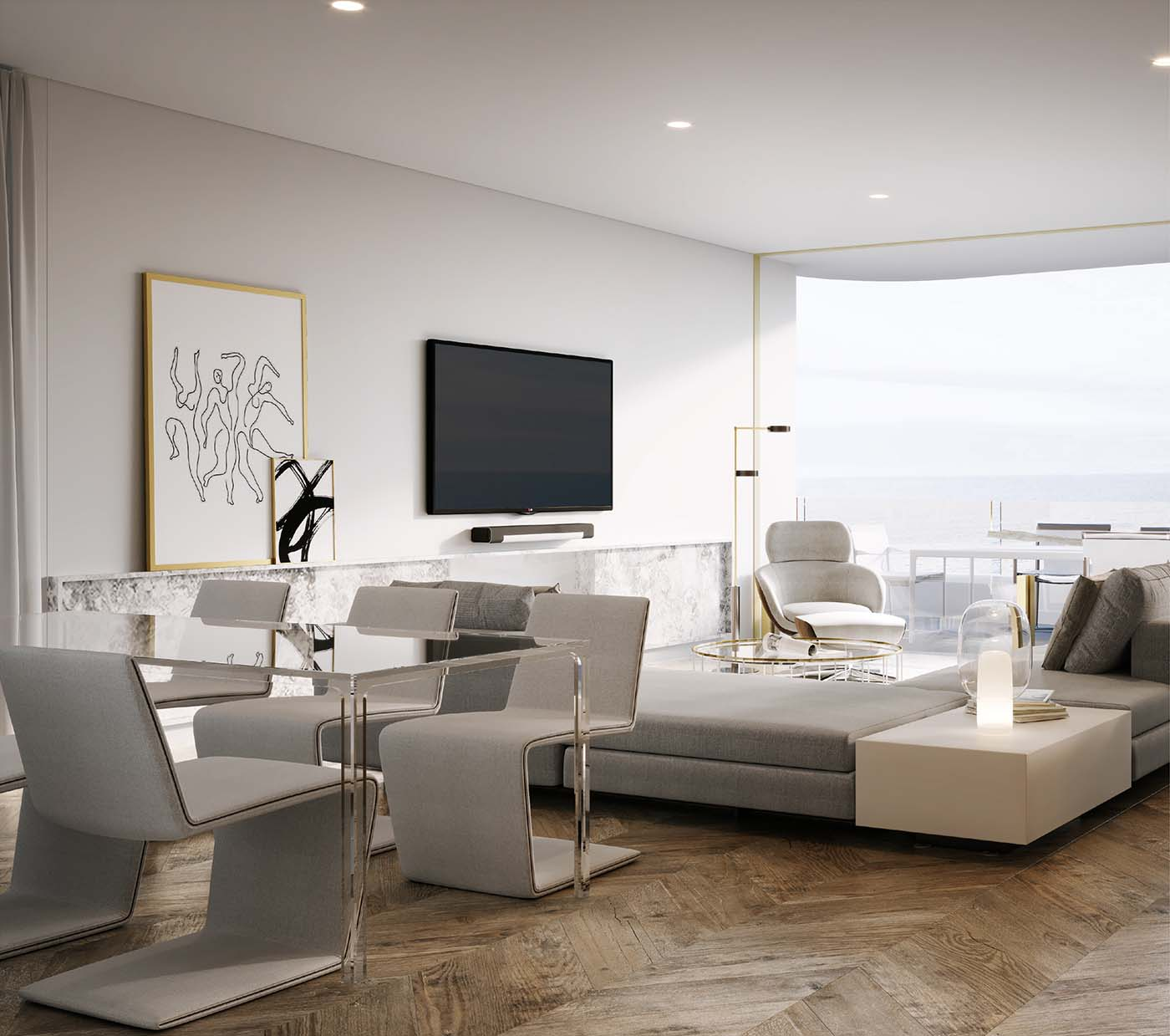 living room with big living area made with neutral materials