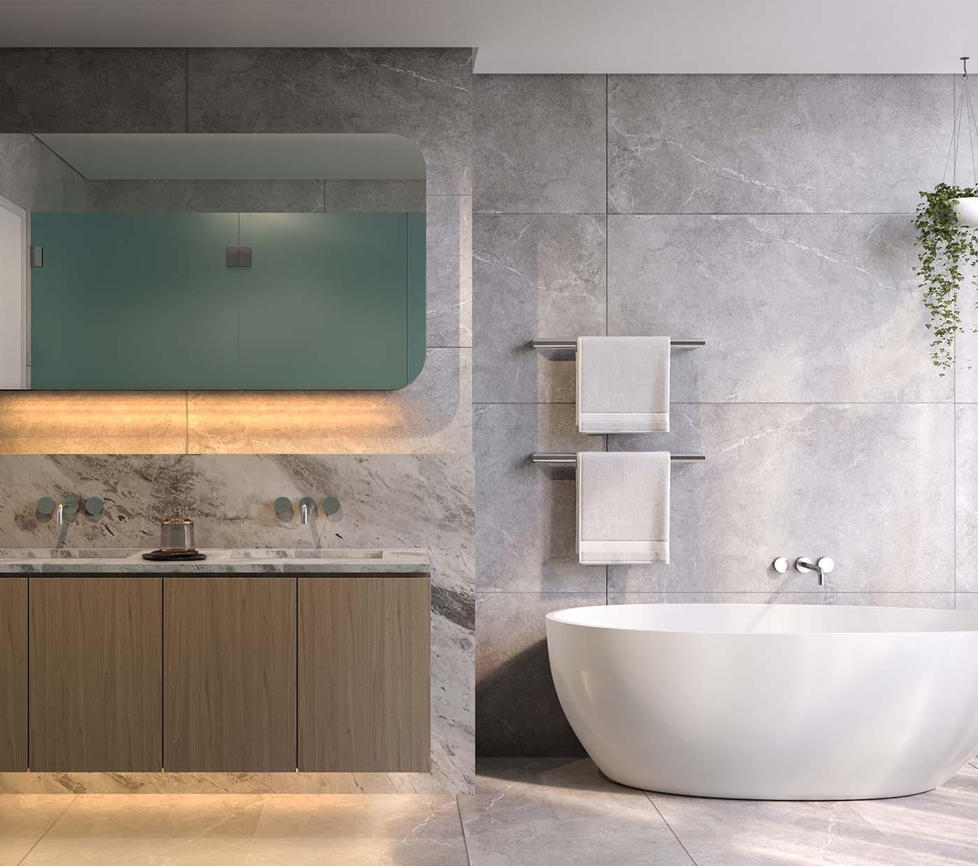 Bathroom in Cronulla Beach showing different stones, sink and bathtub