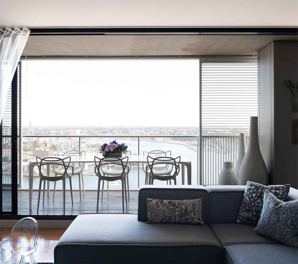 Living room with balcony having 360 degrees view of Sydney