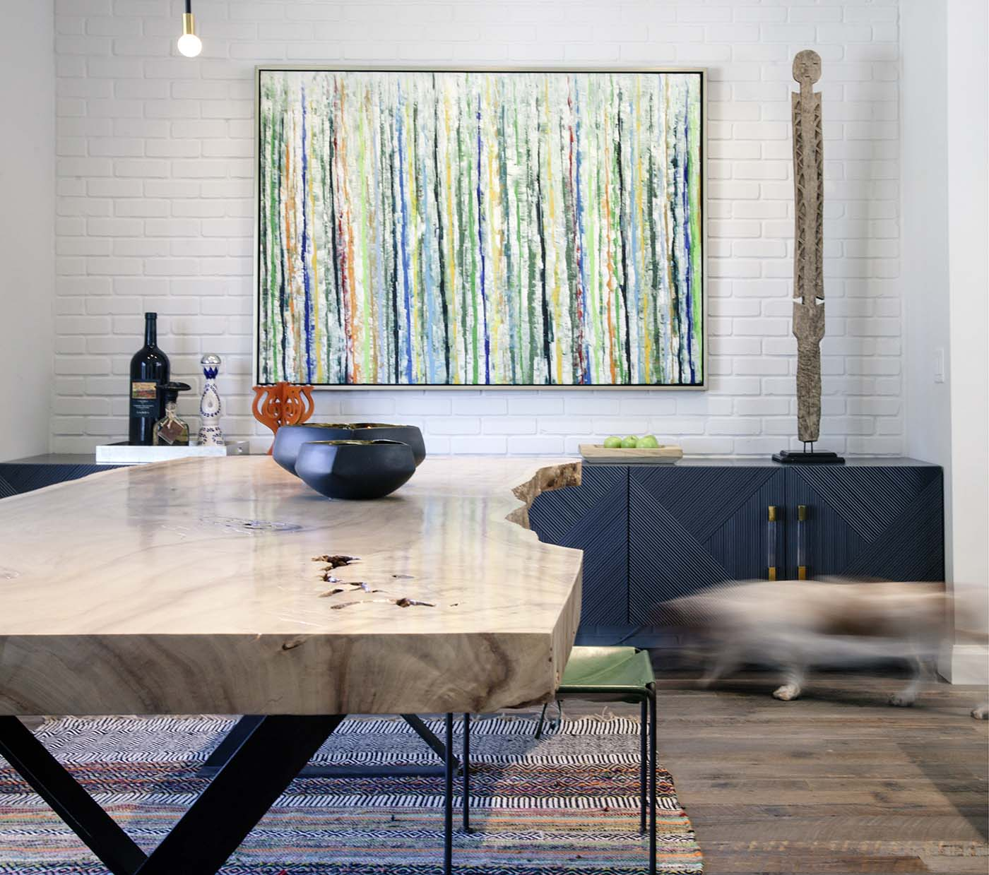 close up of table and artworks in California