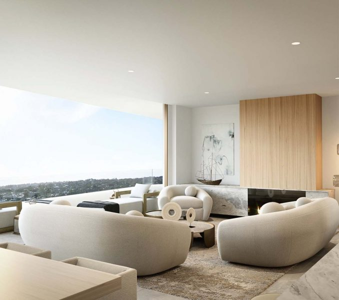 living room with artwork, glass window and view